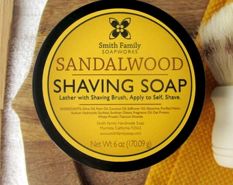Handmade Shaving Soap, Sandalwood Shave Soap, Valentine's Day, Groomsmen Gift, Father's Day Gift