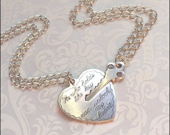 Key To My Heart Necklace~Couples Necklace, Boyfriend/Girlfriend Jewelry, He Who Holds the Key NECKLACE SET Beautiful Chain His/Hers Couple