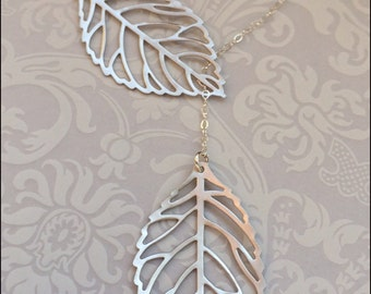 Leaf Lariat Necklace, Silver Leaf Jewelry, LARGE Leaf Pendant Necklace, LARIAT Style, PRETTY Gift for Wife, Mother, Grandmother, Friend