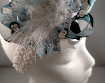 Christmas Penguin Blue Black and White Over-The-Top Hair Bow Hairbow