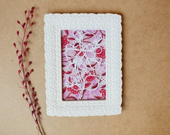 Repurposed papercutting framed art 4x6 floral pink collage