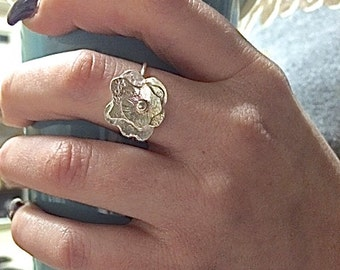 Flower Ring Silver - Sterling Silver Rings for Women - Unique Rings for Her - Boho Rings - Hippie Ring - Poppy Flower