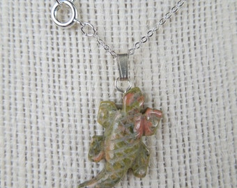 Gemstone Necklace,  Unakite Gemstone, Lizard Necklace, Lizard Pendant, Store Closing, Liquidation Sale