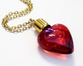 Heart Perfume Vial, Rare Vintage Heart Perfume Pendant Necklace, Valentine's Day, Perfume Heart Jewelry