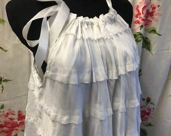 Repurposed Altered couture Boho Gypsy dress vintage white multi tiered cotton medium large summer peasant hippie