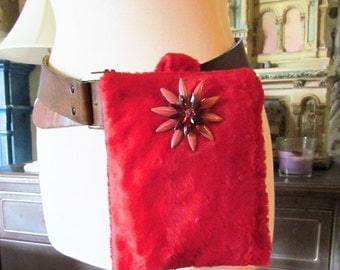 One of a Kind Vintage Fuzzy Fabric Versatile Bag, Clutch, Fanny Pack!