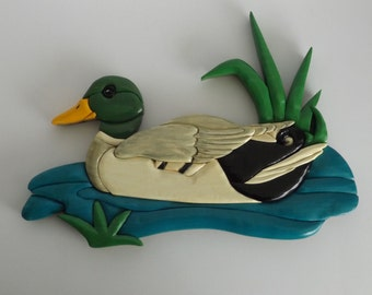 Swimming Duck Carving