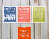 Set of 3 Custom Personalized Recipe Prints with Hand Lettering