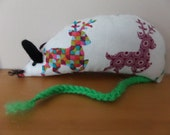 Hand Made Christmas Catnip Mouse - Colourful Reindeer design - Cat Toy