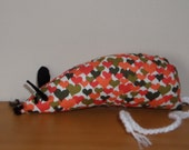 Valentine Catnip Mouse - Orange & Green Hearts - Handmade Cat Toy with extra strong catnip
