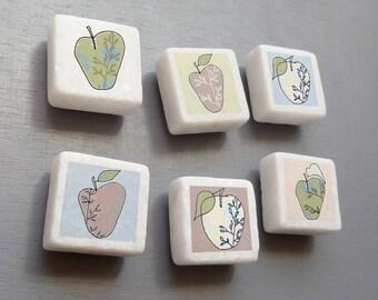 Teacher Thank You Gift - Apple magnets - mini marble Fridge magnets - Food Art - Kitchen Decor - Made In uk -Stocking Filler - fruit magnets