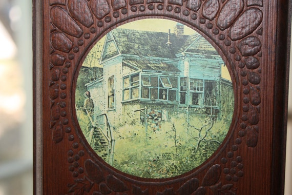 Art Wall Hanging, Three Houses, Home Decor, Vintage Homes, Country Style Cabins on Wood