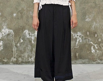 Wide Leg Pants with Black Ribbon - Culottes - International Freeshipping