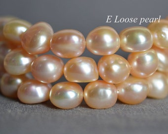 Baroque pearl 10.5-11mm Large hole pearl Pebble Freshwater Pearl earrings Peach Necklace pearl Loose bead 37pcs Full Strand Item No: PL3142