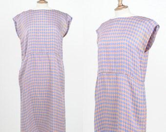 Vintage 1990s / B J Larken Silk Picasso Harlequin Dress / Size 8