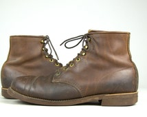 Vintage Work Boots Chippewa for LL Bean Brown Leather Cap Toe Low Ankle Boots 11.5 D