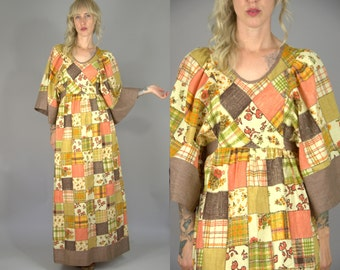 70s Patchwork Bell Sleeve Festival Dress Empire Waist Bohemian Maxi Dress