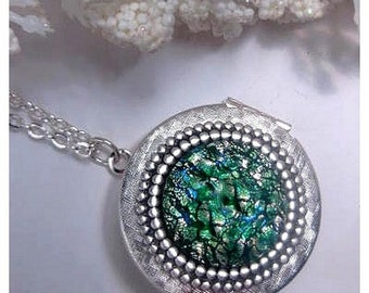 Green Opal Locket Necklace - Fire Opal - Photo Locket - Silver Locket - Custom Length - Christmas Gift