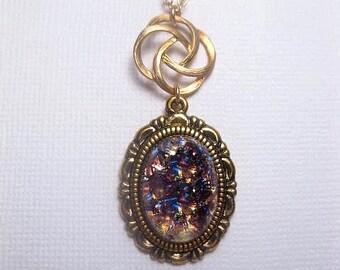 Amethyst Opal Necklace - Gold - Swirl Rose - Custom Length