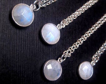 Small Moonstone Necklace - Gemstone - Natural - Round Pendant - Custom Length - Simple Everyday Fashion - Christmas Gift