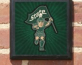 Michigan State Spartans Capital Logo Wall Art Sign Plaque, Gift Present, Home Decor, Vintage Style, Man Cave Fan Sparty Go Green Classic
