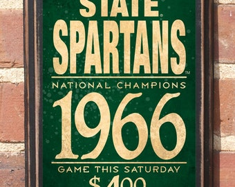 Michigan State Spartans Wall Art Sign Plaque, Gift Present, Home Decor, Vintage Style, Man Cave Fan Sparty Go Green Football Sparty Antiqued