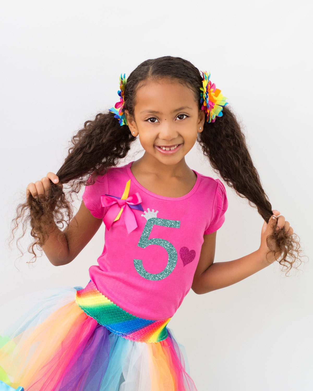 Design your own t-shirt birthday party - Girls 5th Birthday Shirt Hot Pink Birthday Shirt Birthday Girl Shirt Personalized Shirt 5 Rainbow Party Tutu Birthday Hair Bow Rainbow Socks