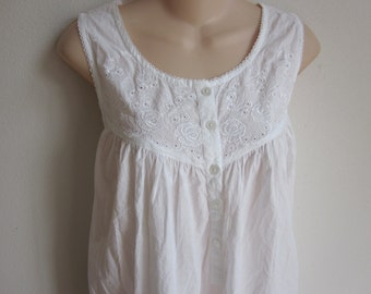 cotton nightgown cozy cool button front prairie style plus size 1X XXL