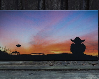 Yoda, Millenium Falcon, sunset, photography print on canvas