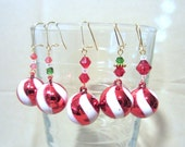 HOLIDAY SPECIAL - Crystal Beaded Candy Cane Swirl Christmas Ornament Earrings, Handmade Original Fashion Jewelry Festive Holiday Ladies Gift