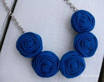 Cobalt Blue Mini Rosette Necklace Fabric Necklace Statement Necklace Bib Necklace Handmade Necklace Bridesmaid Jewelry Jewelry for Kids