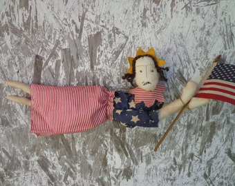 Primitive Americana Doll Lady Liberty Shelf Sitter with Flag
