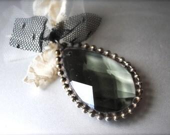 Soldered Antique Smoke Crystal pendant