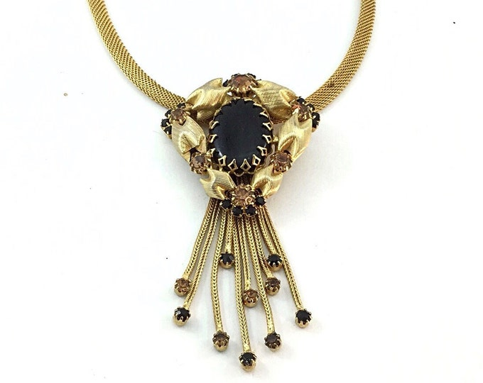 Beautiful Alice Caviness Style, Vintage Gold Mesh Rhinestone Necklace Featuring Black and Sparkly Topaz Rhinestones,