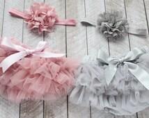 TWINS Baby Girl Ruffle Tutu Bloomer Headband Sets in Mauve & Grey - Newborn Photo - Cake Smash - Diaper Cover - Baby Gift - Birthday