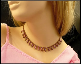 Pink Rhinestone Necklace, Dangling Baguettes Choker, Maid of Honor Choker, Bridesmaid Necklace, Pageant Jewelry, Gift for Her