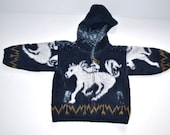 Vintage infant boy's girl's  hand knit  hooded sweater zipped jacket hand knit horses jacket Gift for little one s 18m-24m Photo prop
