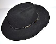Vintage men black felt  Wrangler Riata Felt cowboy Western Rancher hat Dude Stuff