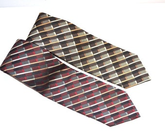 Vintage 90s designer  100% silk tie by Roberto Villini couture. Basket weave pattern.  made in Italy wedding tie  mens