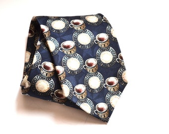 Vintage Espresso Coffee  Necktie mens handmade tie by  Structure  silk tie  mens neckwear wedding gift  made in USA tie Christmas gift