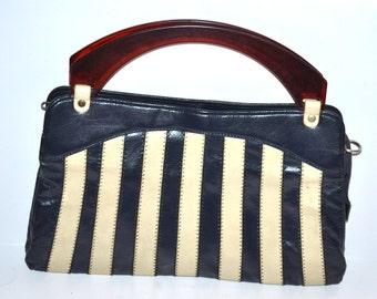 Vintage 50s dark blue white striped purse lucite handles Fashion wedding Prom Mad Men Nautical mid century purse