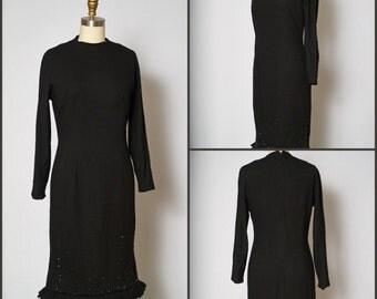 1960s Dress /  60s Wiggle Dress  / 1960s Shift Dress / Wiggle Dress / Anne Fogarty / Black Dress with Fringe / LBD