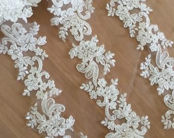 Exquisite Beaded Alencon Lace Trim , Bridal Veil Lace, Scallop Wedding Gown Lace Trim , Bridal Dress Straps