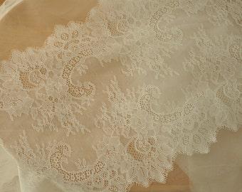 3 Yards Ivory Lace Trim , Eyelash Wedding Bridal Lace Trim  for Bridal Veils, Wedding Gown