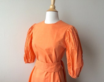Vintage Melon Orange Pleated Dress