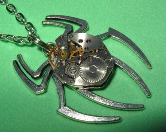 Steampunk Gothic Spider necklace  Silver Spider pendant vintage watch movement Tarantula Necklace  insect jewelry Alternative jewelry