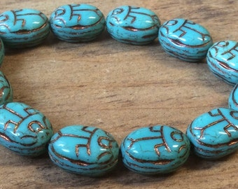 Czech Scarab Bead 18mm x 12mm Opaque Turquoise Bronze Wash Qty 4