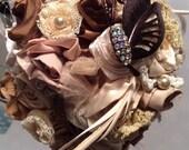 Fabric flower bridal bouquet rustic chic barn shabby chic