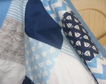 Nautical Crib Blanket Baby Bedding Blanket Crib Blanket Nursery Blanket Modern Nautical Boy Grey Navy White