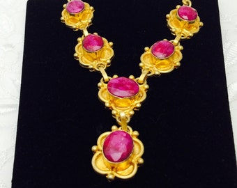Ruby Necklace,  By Stauer, 30 C T W Gold Tone, Natural Rubies, CLEARANCE SALE, Item No. S404